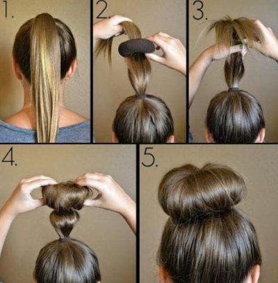прическа бублик на средние волосы