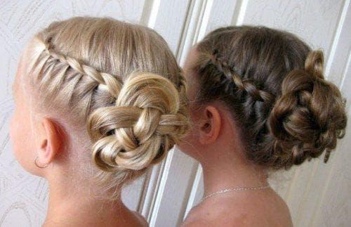 гульки из косичек на средние волосы для девочки