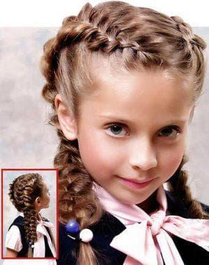 косы на средние волосы для девочки