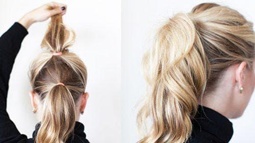 двойной хвост с локонами на средние волосы