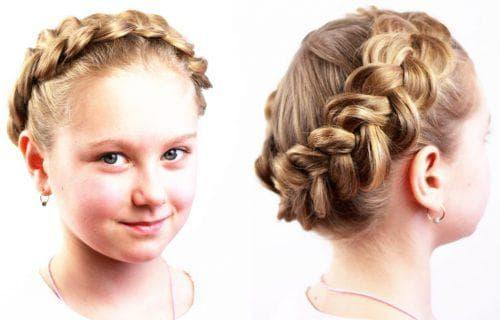 венок из кос на средние волосы для девочки
