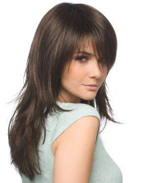 каскадная стрижка на длинные тонкие волосы с чёлкой