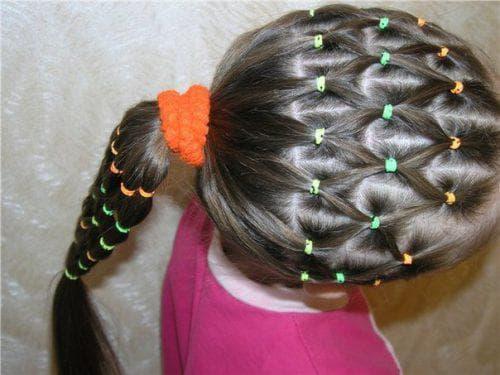 причёска сеточка длинные волосы для девочек