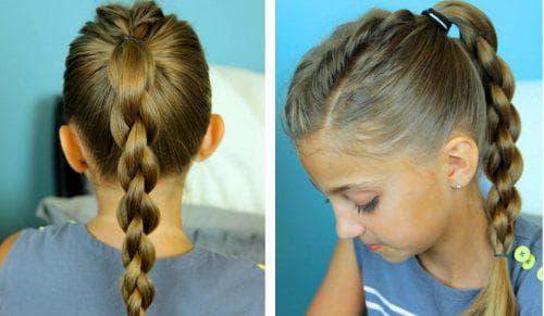 хвост с косами на средние волосы для девочки