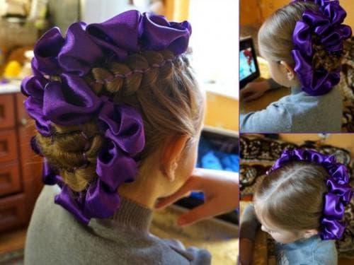 причёска с лентами для девочки