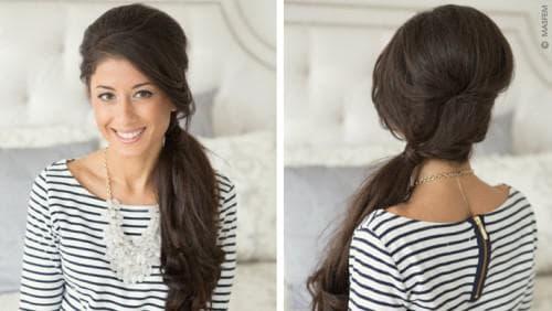 боковой хвост на длинные волосы