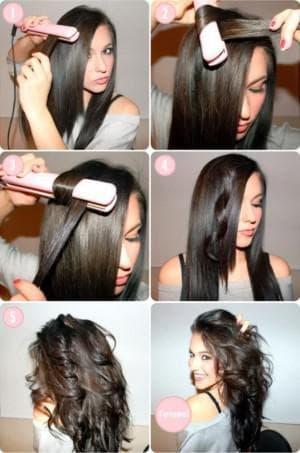 крупные локоны на средние волосы утюжком