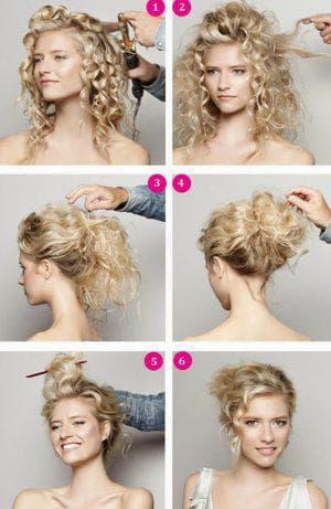 вьющийся пучок с локонами на средние волосы
