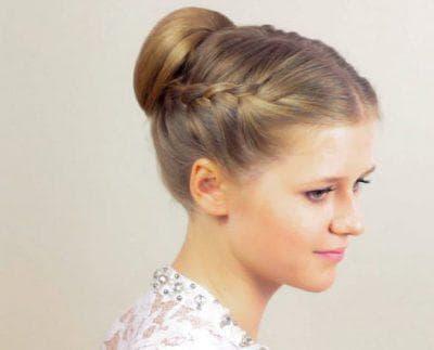 гулька на средние волосы для подростков