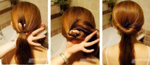 вывернутый хвостик на средние волосы для подростков
