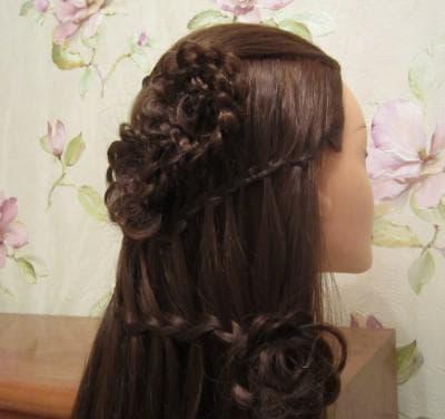коса-водопад с ажурным цветком