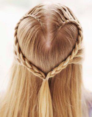 коса в виде сердца на средние волосы