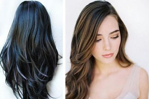 калифорнийское мелирование на черные волосы