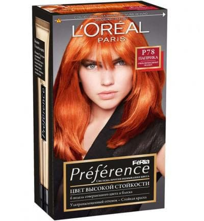 краска для волос Loreal Preference медно рыжий цвет волос