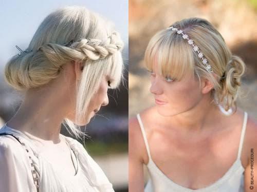 красивая греческая причёска на белые волосы