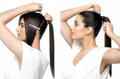 подиумный конский хвост на длинные волосы