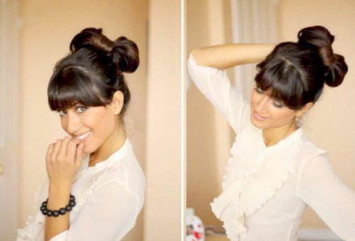 бант из волос с чёлкой на средние волосы