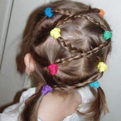 традиционная простая коса на короткие волосы для девочки