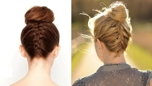 коса в сочетании с пучком на короткие волосы