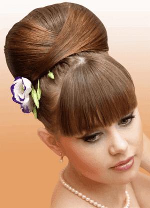 вечерняя ретро прическа на короткие волосы с чёлкой