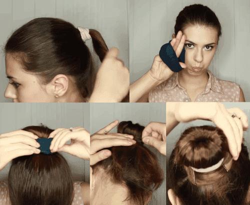 шишки из средних волос с помощью бублика