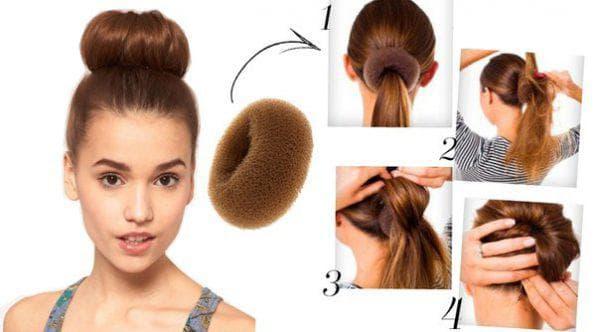 классический вариант шишки из волос с помощью бублика