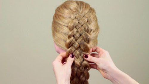 коса из 4 прядей быстрый способ