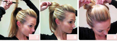 причёска с валиком без чёлки на средние волосы