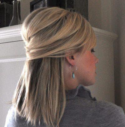 как красиво собрать волосы на средние прямые волосы