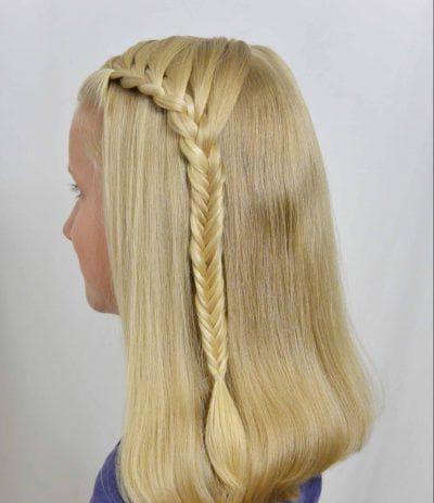 эльфийский хвостик с распущенными волосами в школу