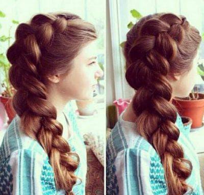 пучок из кос на длинные волосы для подростков