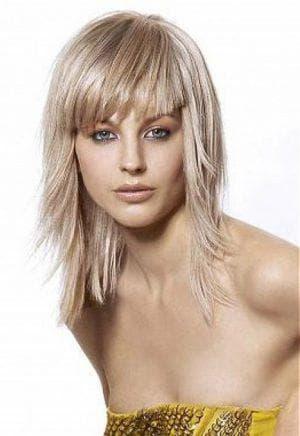 стрижка для средние редкие волосы с чёлкой