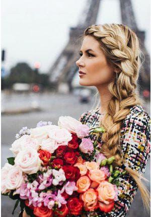плетение с чёлкой на длинные волосы