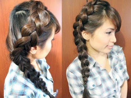 французская коса в школу