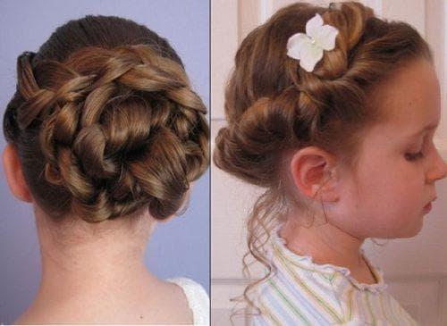 пучок из кос на длинные волосы для девочек