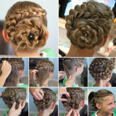 высокая укладка на длинные волосы для девочек