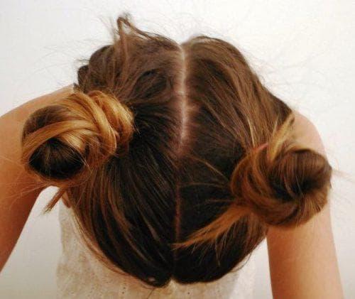 причёска шишка из 2 частей для ребёнка