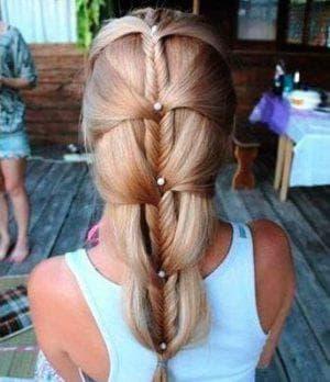 укладка колосок на длинные волосы для девочек