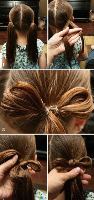 причёска бант с резинками для девочек