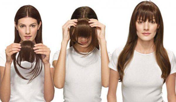 накладные волосы на резинке в виде чёлки