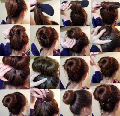 пучки при помощи бублика на длинные волосы для подростков