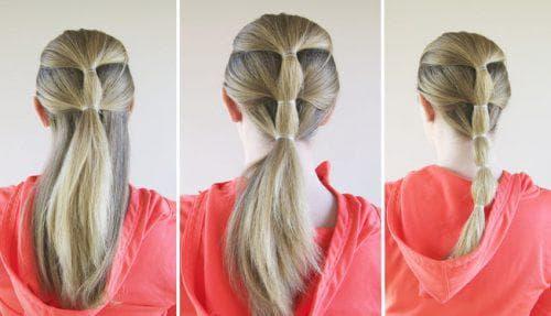 причёска из многоярусных хвостов с резинками