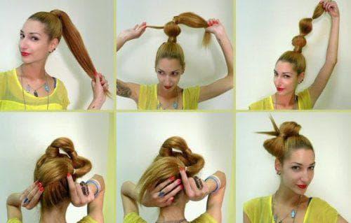 причёска бант на длинные волосы с резинками