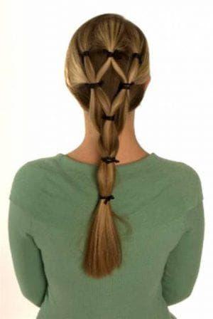 оригинальная причёска с силиконовыми резинками для девочек