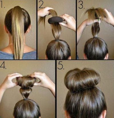 причёска с бубликом