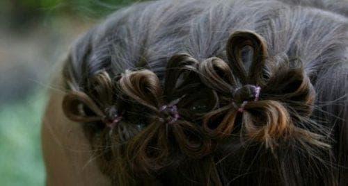 цветок из волос с резинок для девочки