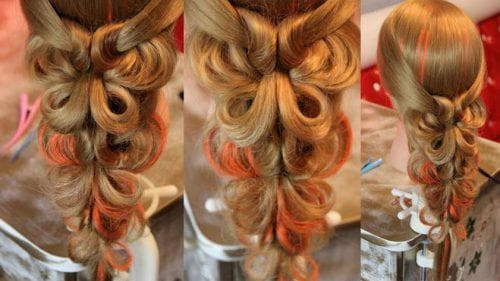 многоуровневая причёска с силиконовыми резинками для девочек