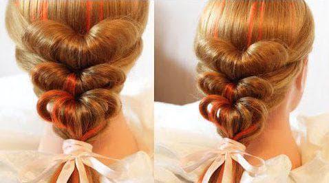 причёска сердце с резинок для девочки