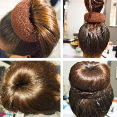 причёска с бубликом классической формы