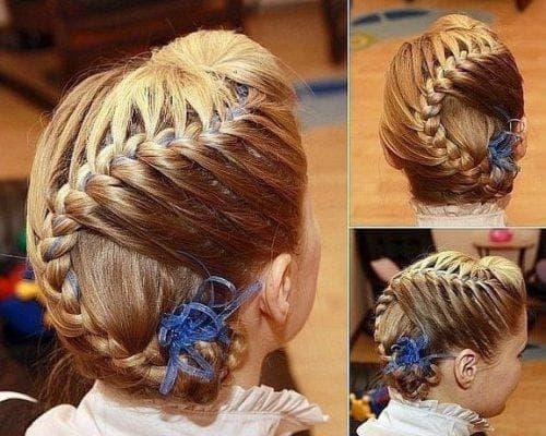 детская прическа колосок на длинные волосы